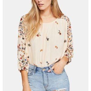 NWOT FREE PEOPLE Wild Flowers Peasant Top Shirt L
